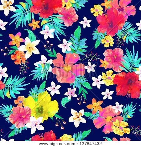 Seamless floral background. Tropical colorful pattern. Isolated beautiful flowers and leaves drawn watercolor on blue background. Vector illustration.