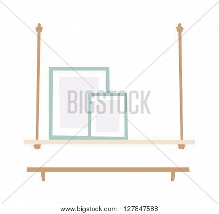 Bookshelf with books in vector. Bookshelf in a flat style vector illustration of modern shelves for books. Wall bookshelf with a stack of books. Wooden bookshelf with books in the series.