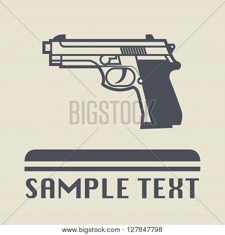 Pistol gun icon or sign, vector illustration