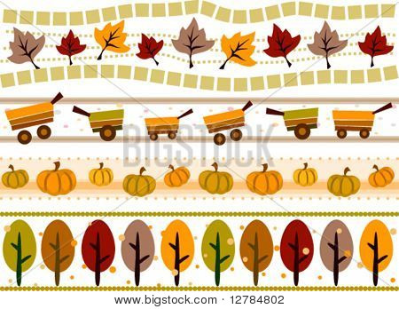 Autumn Border Set - Vector