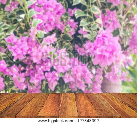 Old Wood Texture With Blur Bougainvillea Flower In The Field Background