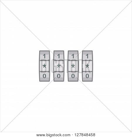 Security Lock icon isolated on a white background. Vector combination lock.