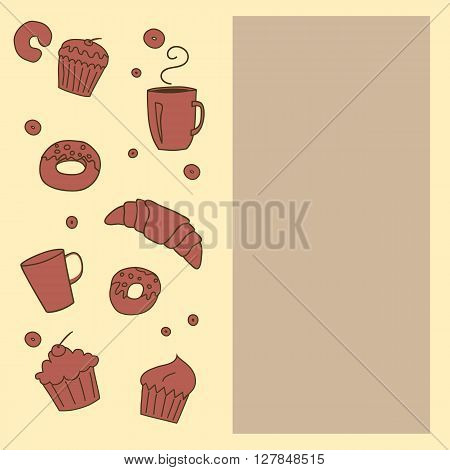 Vector bakery template background with space for text.