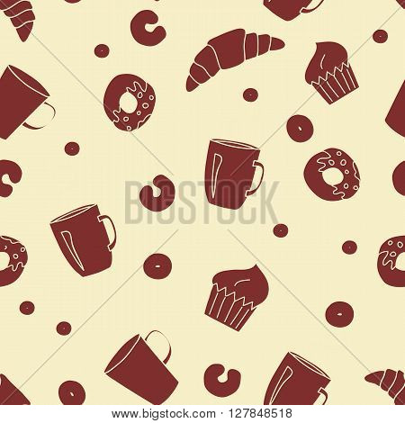 Vector bakery seamless pattern and pastry background.