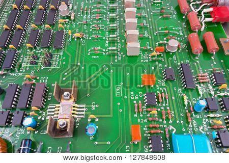 the Closeup of big electronic circuit board