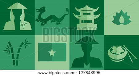 set of icons in the style of a flat design on the theme of Vietnam.