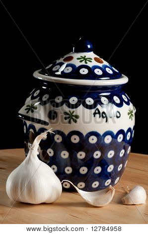 Blue And White Garlic Jar