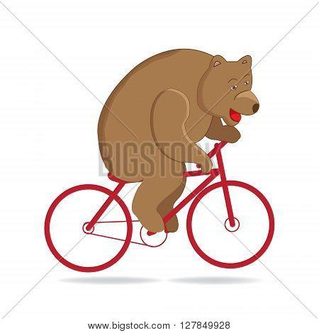 Bear in the circus circus bear rides a red bike. Funny circus bear vector illustration