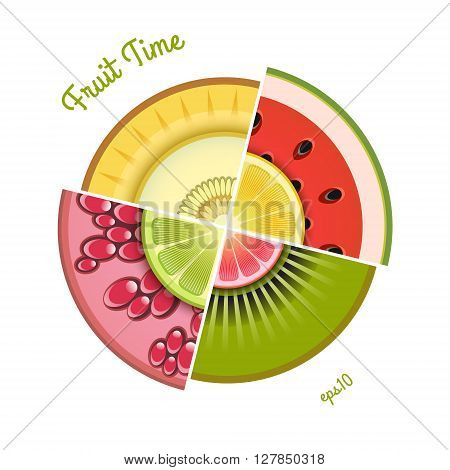 Vector collection of fresh fruit wedges. Eps 10