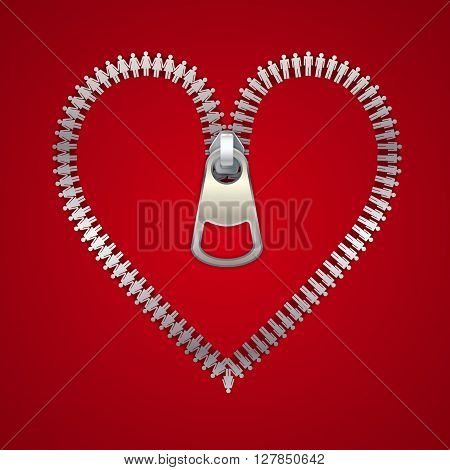 Heart with zipper made of male and female icons vector illustration.
