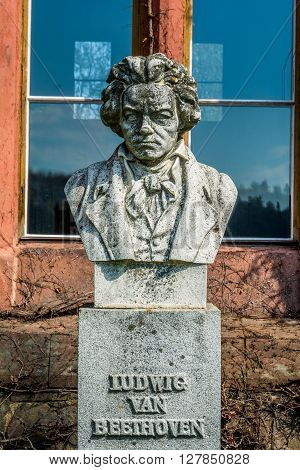 Sculpture or bust of Ludvig van Beethoven in Czech castle Hradec nad Moravici