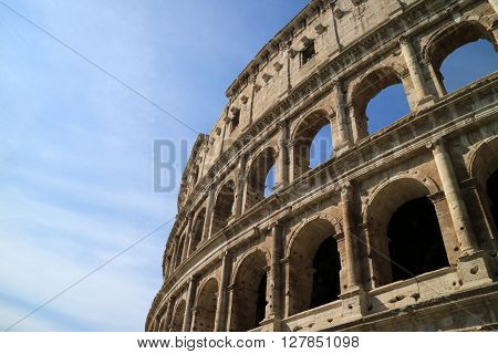 This is the left profile of the archs of the majestic monument in Rome, the Colosseum