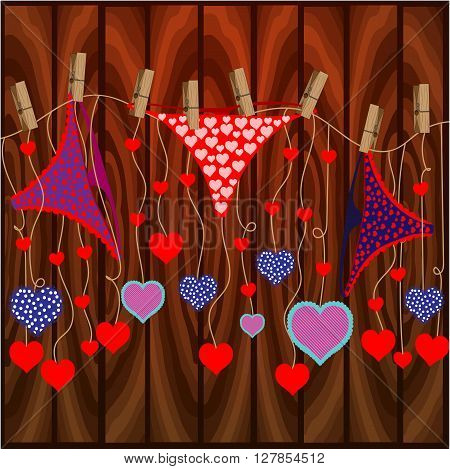 Bright color vector graphic illustration of Valentine day holiday with love symbol of beautiful heart shape and female cute pants on wooden background