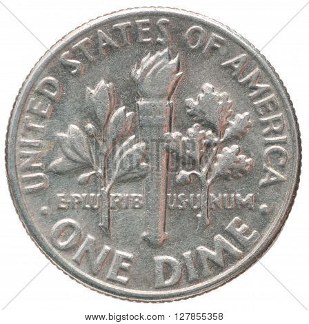 Old American one dime coin Liberty closeup