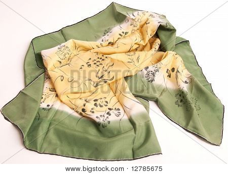 Silky Head Scarf In Shades Of Green And Yellow