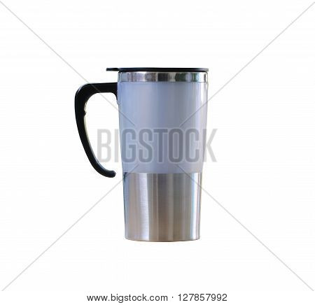 Water glass of aluminum (Aluminum mug) isolated on white background and have clipping paths.