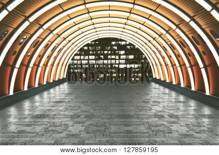 Illuminated orange tunnel with brick tile floor and building view. 3D Rendering