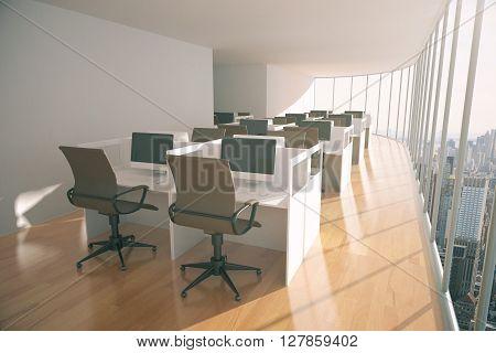Coworking space with wooden floor concrete walls and wooden floor. 3D Rendering