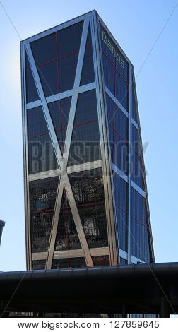 Madrid Spain April 7 2016: One of the Torres Kio Kio towers also called Puerta de Europa at the Plaza de Castilla. Madrid Spain April 7 2016