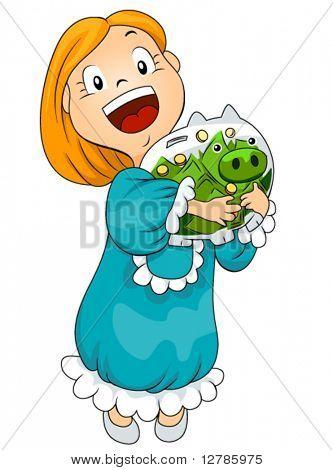 Girl with Piggy Bank full of money - Vector