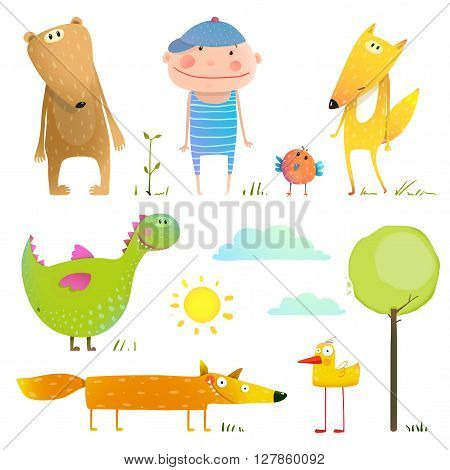 Collection animal and child. Cute cartoon character bear duck fox and dragon. Vector illustration