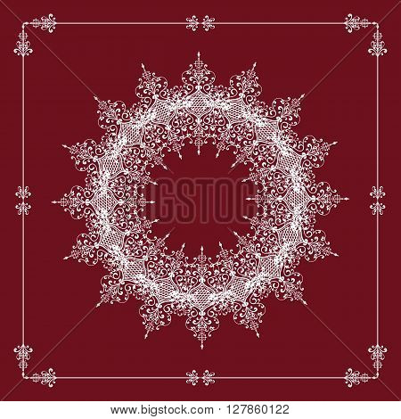 Decorative Element vector round lace pattern mandala on a beautiful color Marsala