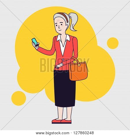 Intellegent modern elderly woman using mobile phone. Grandmother reading message on smartphone. Linear flat design