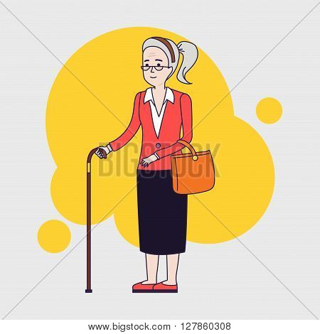Old stylish woman with cane. Senior lady with glasses walking. Vector linear flat design.