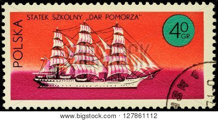 MOSCOW RUSSIA - APRIL 25 2016: A stamp printed in Poland shows three-masted sailing ship