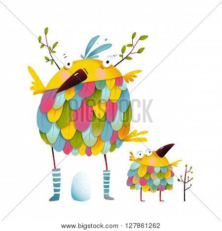 Funny bird family mother and nestling. Bird parent funny love child greeting card design. Vector illustration.