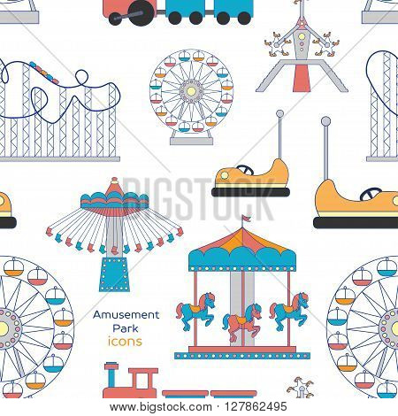 Colorful pattern amusement park or funfair attraction icons
