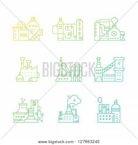 Industrial buildings logotypes made in vector. Manufacturing and engineering vector.