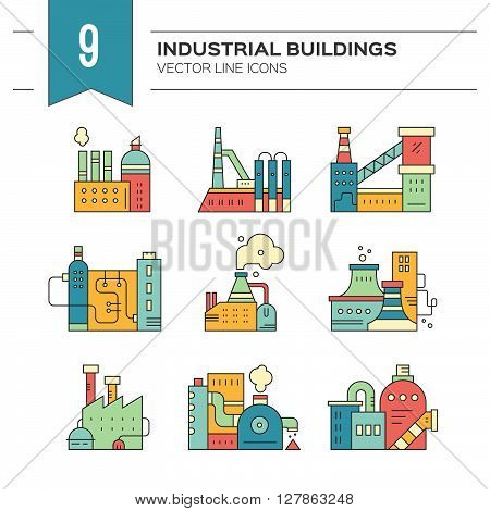Industrial buildings made in vector. Manufacturing and engineering vector.