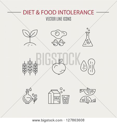Food allergy logos made in vector. Food intolerance labels for restaurants farm markets and menu. Special diet illustration.