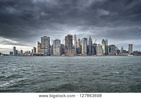 View of the Manhattan skyline at cloudy day.