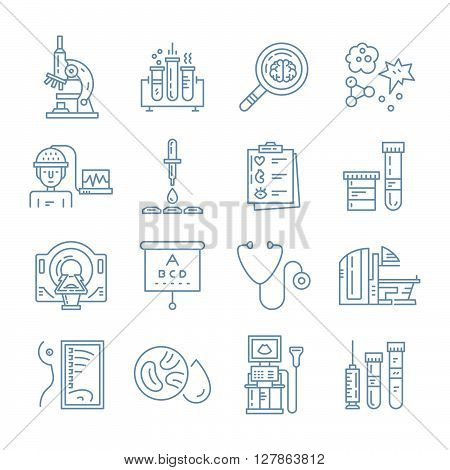 Vector icons with medical check-up and diagnostic process - xray MRI blood testing microscope and other medical gear. Line vector illustrations of medical diagnostic process.