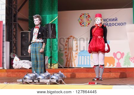 PERM RUSSIA - JUNE 5 2015: Clowns on open air stage at Perm Kaleidoscope Festival