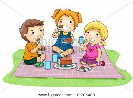Children eating Cake in the Park - Vector