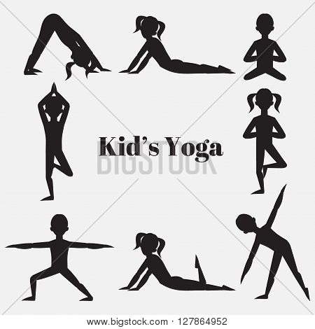 Yoga kids silhouette set. Gymnastics for children and healthy lifestyle. Yoga exercises. Yoga class, yoga center, yoga studio. Flat yoga asana