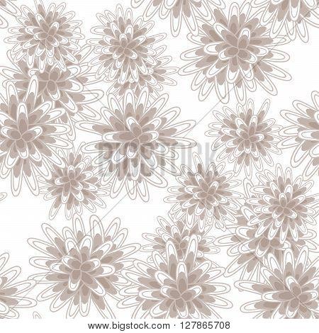 Mums flowers or chrysanthemum seamless beige moccha pattern. Feminine light chrysanthemum floral background.