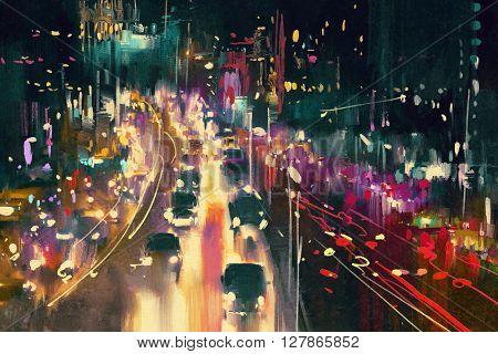 light trails on the street at night, illustration digital painting