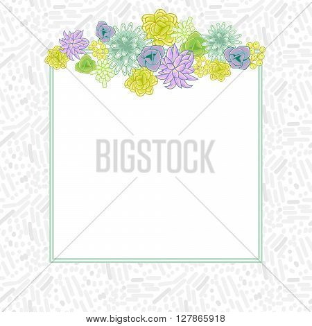 Flower square card template vector. Mums, roses and succulents wedding invitation or greeting card top design. Green and purple violet flower decor.