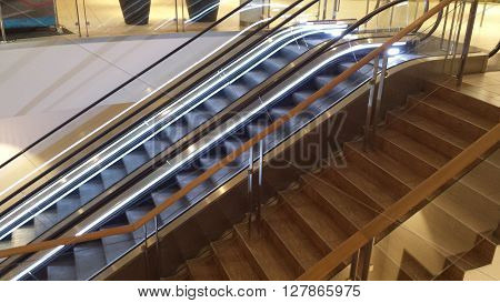 Stairs and escalators, the colors silver and bronze