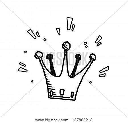 Crown Doodle, a hand drawn vector doodle illustration of a shiny crown.