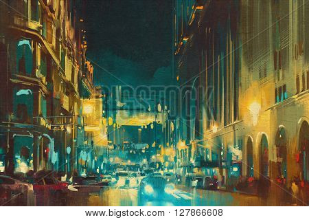 colorful light of city with historical buildings, illustration painting