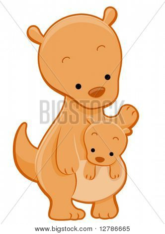Cute Kangaroo with Joey - Vector