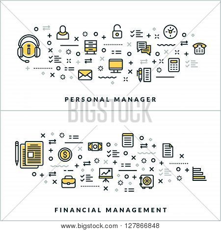 Vector Thin Line Personal Manager and Financial Management Concepts. Vector Illustration for Website Banner or Header. Flat Line Icons and Design Elements
