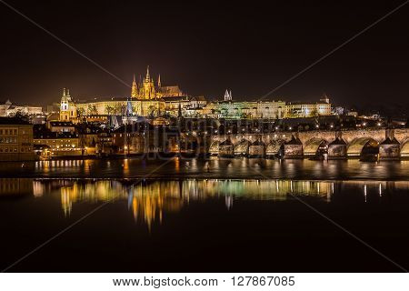 A view of the Prague Skyline at night from Old Town to the Lesser Quarter. Part of Prague Bridge can be seen.