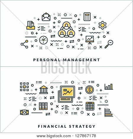 Vector Thin Line Personal Management and Financial Strategy Concepts. Vector Illustration for Website Banner or Header. Flat Line Icons and Design Elements