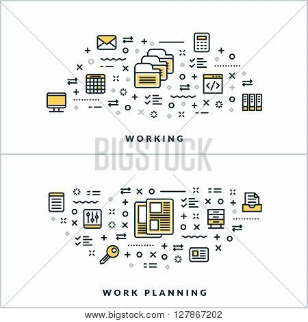 Vector Thin Line Working and Work Planning Concepts. Vector Illustration for Website Banner or Header. Flat Line Icons and Design Elements